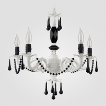 Faith Matte White Black Crystal Chandelier
