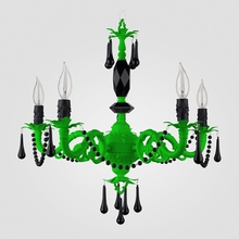 Faith Neon Green Black Crystal Chandelier