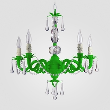 Faith Neon Green Clear Crystal Chandelier