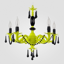 Faith Neon Yellow Black Crystal Chandelier