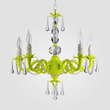 Faith Neon Yellow Clear Crystal Chandelier