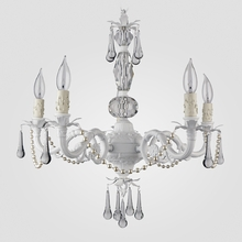 Faith White with Pearls Clear Crystal Chandelier