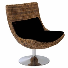 Fenia Swivel Chair in Triple Brown Rattan and Chrome