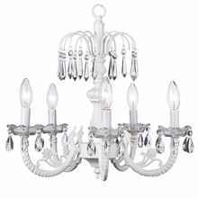 Five Arm Flower Crystal White Chandelier