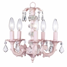 Five Arm Glass Ball Pink Chandelier