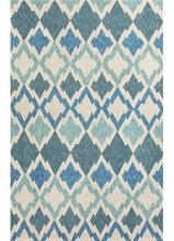 Flamestitch Rug in Blue