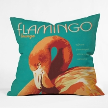 Flamingo Lounge Throw Pillow