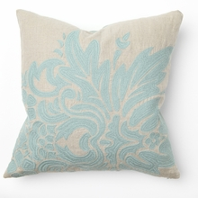 Flora Turquoise Embroidery Throw Pillow