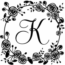 Floral Initial Personalized Self-Inking Stamp