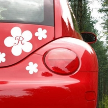 Flower and Initial Car Decal
