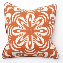 Flower Burst Orange Print with Red Piping Throw Pillow