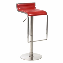 Forest Bar and Counter Stool in Red and Satin Nickel