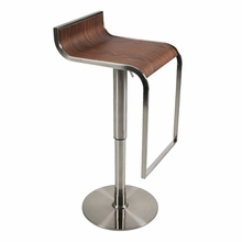 Forest Bar and Counter Stool in Walnut and Satin Nickel