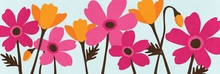 Fuchsia and Tangerine Flower Garden Wall Art I