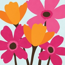 Fuchsia and Tangerine Flowers II Wall Art