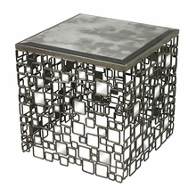 Geometric Metal And Antique Mirror Side Table