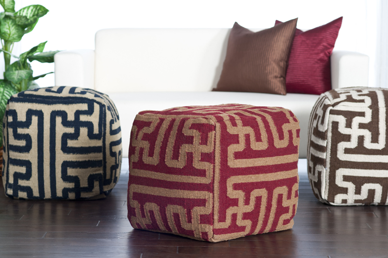 District17 geometric pouf in maroon and brown poufs - Pouf marron conforama ...