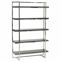Gilbert 5 Shelf Unit in Black Lacquer and Chrome