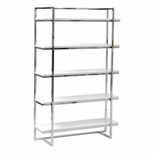 Gilbert 5 Shelf Unit in White Lacquer and Chrome