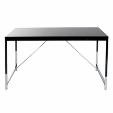 Gilbert Desk in Black Lacquer and Chrome