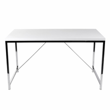 Gilbert Desk in White Lacquer and Chrome