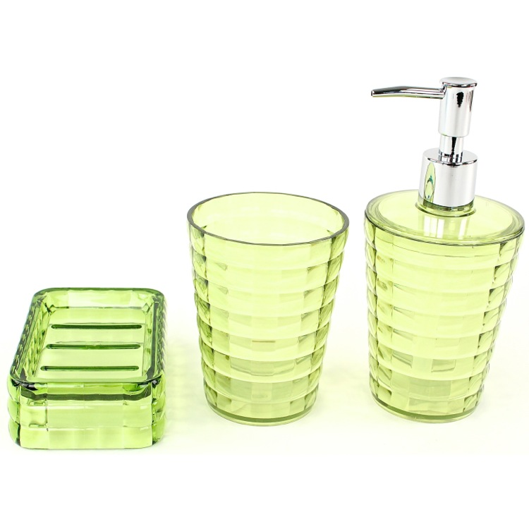 glady 3 piece bathroom accessory set in lime - Bathroom Accessories Lime Green