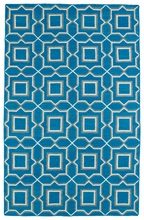 Glam Boxed Rug in Teal