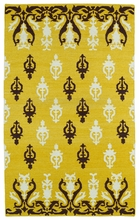 Glam Damask Rug in Yellow