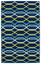 Glam Waves Rug in Navy