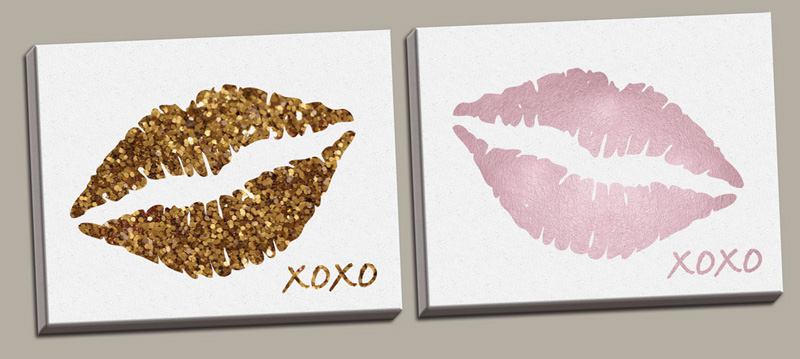 Glitter Wall Art district17: glitter lips and pink lips canvas wall art set: canvas