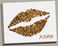 Glitter Lips Canvas Wall Art