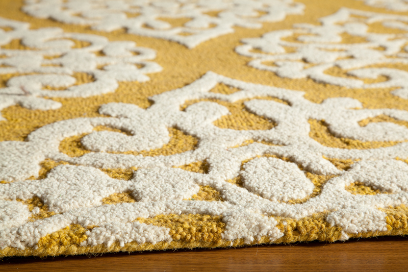 District17 Gold Damask Dunes Rug Patterned Rugs Textured Rugs