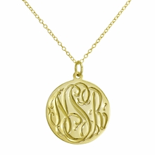 Gold Engraved Monogram Necklace - Script