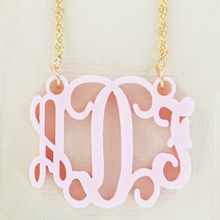 Gold-Plated Ballet Pink Acrylic Monogram Necklace