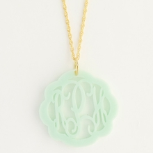 Gold-Plated Seafoam Medium Flourish Monogram Acrylic Necklace