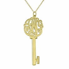 Gold Key Monogram Necklace - Script