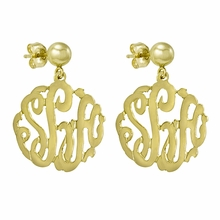 Gold Monogram Earrings - Script