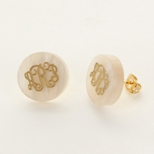 Gold Post Ivory Acrylic Monogram Earrings