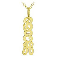 Gold Vertical Monogram Necklace - Script
