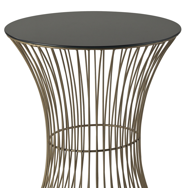 Gold Wire Curved Drum Table