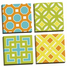Graphic Pattern I, II, III, IV Canvas Wall Art Set
