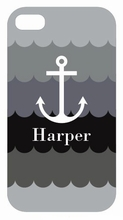 Gray Anchor Waves iPhone Case