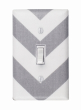 Gray and White Chevron Light Switch Plate Cover