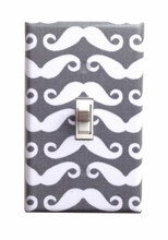 Gray and White Mustache Light Switch Plate Cover