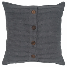 Gray Cable Knit Throw Pillow