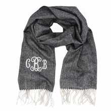 Gray Herringbone Monogram Cashmere-Feel Scarf