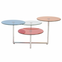 Grayson Glass Coffee Table in Blue and Clear and Orange and Red