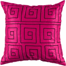 Greek Key Throw Pillow in Pink and Black