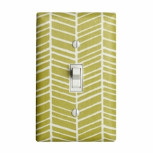 Green Herringbone Light Switch Plate Cover