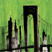 Green Silhouette Cityscape Canvas Art